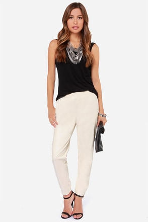 Lucca Couture Get on Up Cream Vegan Leather Pants