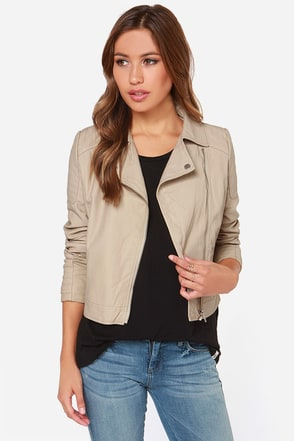 Make Your Mark Taupe Vegan Leather Moto Jacket