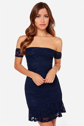 LULUS Exclusive Tomorrow Night Off-the-Shoulder Navy Blue Dress