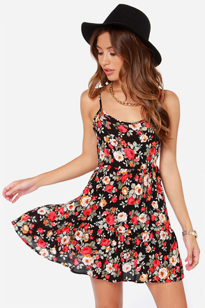LULUS Exclusive Well Bloomed Black Floral Print Dress