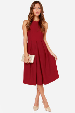 LULUS Exclusive Halter-native Girl Backless Burgundy Midi Dress
