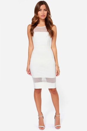 LULUS Exclusive Midi Slicker Ivory Midi Dress