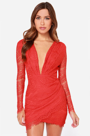 Reverse Late Night Coral Red Lace Dress