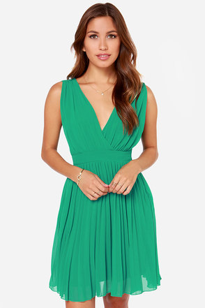 LULUS Exclusive Lady Artemis Pleated Green Dress
