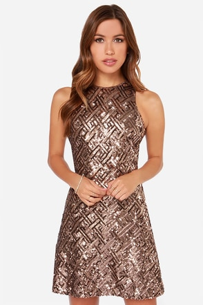 Dress the Population Mia Bronze Sequin Dress at Lulus.com!