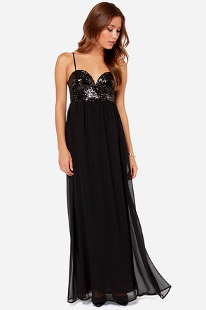 Reverse Va Va Black Sequin Maxi Dress