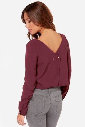 Bel Ami Burgundy Long Sleeve Top at Lulus.com!