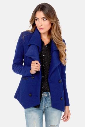 Bright Blue Pea Coat - Coat Nj