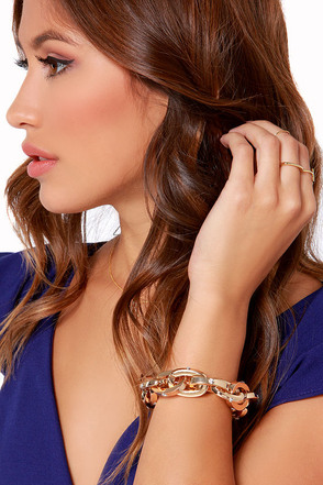 Link About It Gold Rhinestone Chain Bracelet