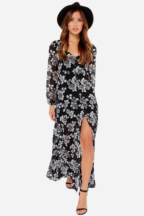 Lucca Couture You've Got Greyscale Black Floral Print Maxi Dress