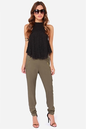 At First Glance Olive Green Cropped Pants