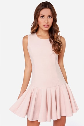 JOA Warm and Fuzzy Blush Pink Drop Waist Dress at Lulus.com!