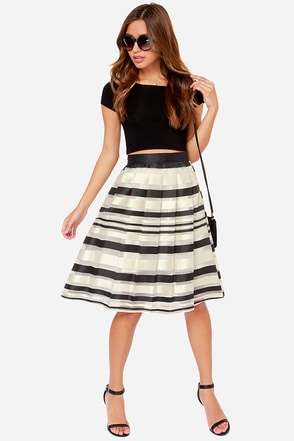 Grand Champion Cream Striped Midi Skirt