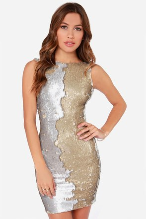 Dress the Population Kim Gold and Silver Sequin Dress