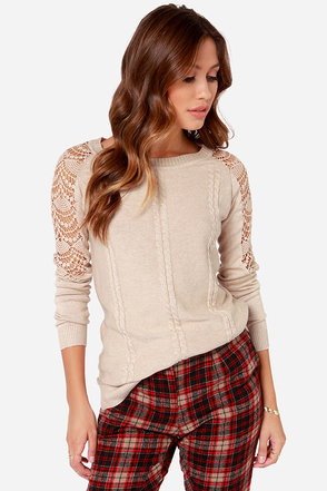 Others Follow Bella Beige Knit Sweater