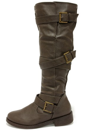 Bamboo Jagger 06A Mushroom Grey Buckled Knee High Boots