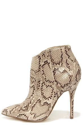 Steve Madden Grrand Natural Snake High Heel Booties