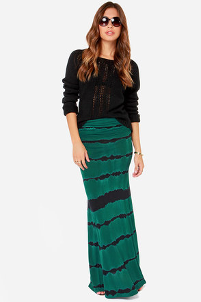 Billabong Better Than This Dark Green Tie-Dye Maxi Skirt
