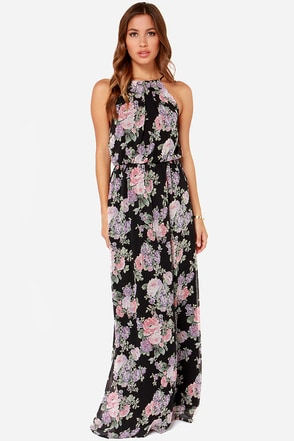LULUS Exclusive Length of Love Floral Print Black Maxi Dress