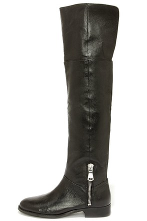 Chinese Laundry Fawn Black Leather Over the Knee Boots