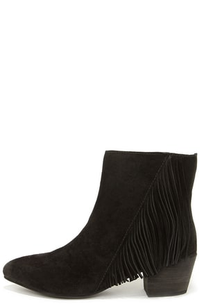 Seychelles Good Advice Black Suede Leather Fringe Booties