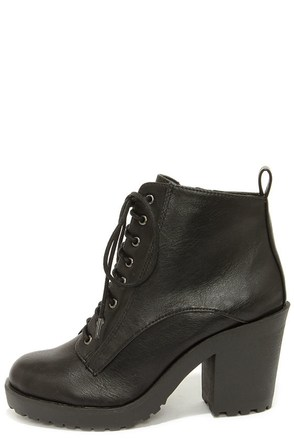 Soda Inside Black Chunky High Heel Ankle Boots