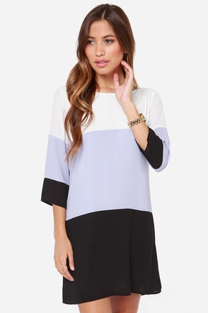 LULUS Exclusive Citrus Grove Lavender and Black Shift Dress