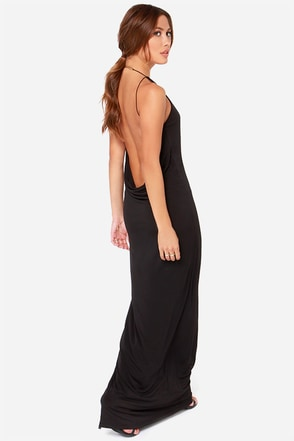 Any Gold Thing Backless Black Maxi Dress