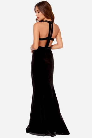 Rubber Ducky Gown-y Fair Black Velvet Maxi Dress