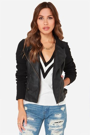 Others Follow Outcast Black Vegan Leather Moto Jacket