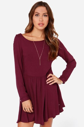 Rhythm Florence Burgundy Long Sleeve Dress at Lulus.com!