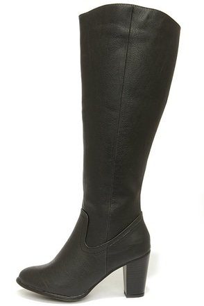 Felicia 14 Black Knee High Heel Boots