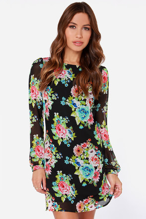 LULUS Exclusive Pretty as a Picture Black Floral Print Dress
