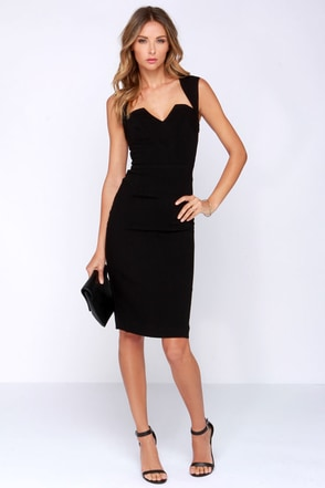 Rubber Ducky Cocktail Party Backless Black Dress