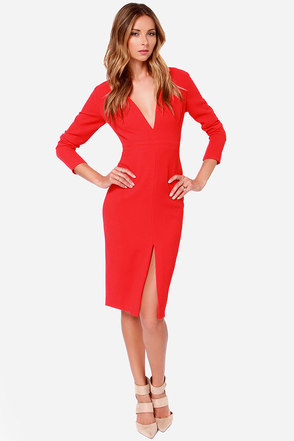 Rubber Ducky True Believer Red Long Sleeve Midi Dress