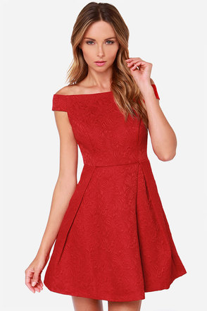 Please and Thanks Red Jacquard Dress