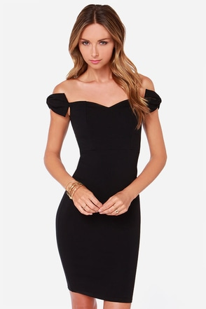 LULUS Exclusive Way to Bow Off-the-Shoulder Black Dress at Lulus.com!