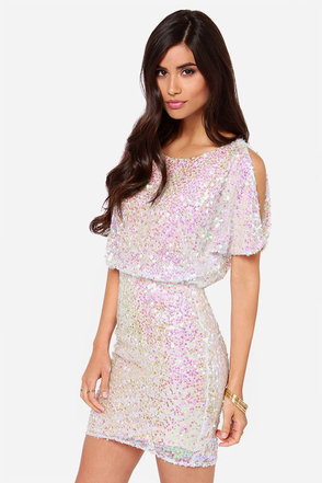 LULUS Exclusive Make Me Over Cream Sequin Dress