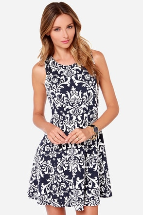 LULUS Exclusive Sweet on You Navy Blue Jacquard Dress