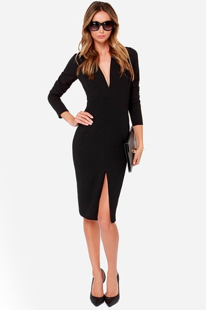 Rubber Ducky True Believer Black Long Sleeve Midi Dress