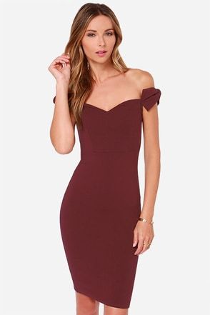 LULUS Exclusive Way to Bow Off-the-Shoulder Burgundy Dress