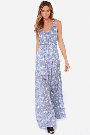 LULUS Exclusive Sew Into You Navy Blue Print Maxi Dress