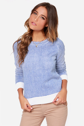 Rhythm Grid Knit Ivory and Blue Sweater