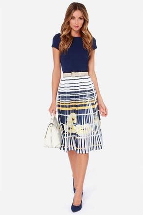 Pleats Believe Me Ivory Print Midi Skirt