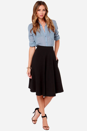 Finders Keepers Black Midi Skirt at Lulus.com!