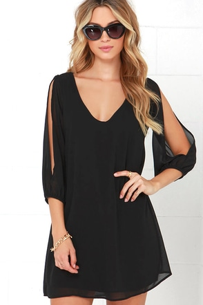 LULUS Exclusive Shifting Dears Black Long Sleeve Dress