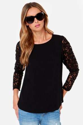 Rhythm Tulip Long Sleeve Black Top at Lulus.com!
