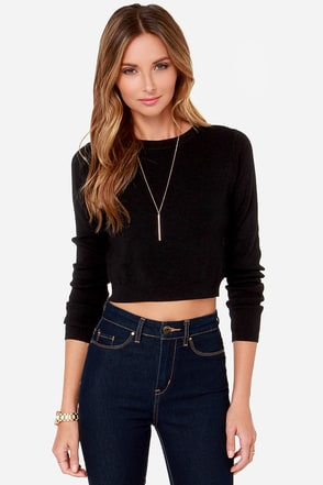 Robo-Crop Cropped Black Sweater at Lulus.com!