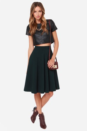 Finders Keepers Forest Green Midi Skirt