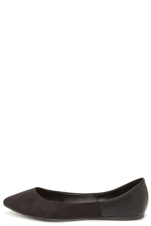 Tasha 24 Black Two-Tone Pointed Flats at Lulus.com!